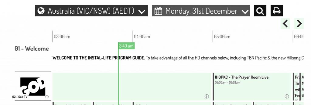 Instal-Life online TV schedule